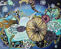 16X20 Mixed Media Collage Coral Reef Aquatic Tentacle Abstract Painting on Canvas