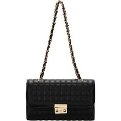 SheIn(sheinside) Black Plaid Chain Satchel Bag (1.515 RUB) ❤ liked on Polyvore featuring bags, handbags, black chain handbag, black purse, plaid purse, black chain purse and satchel bag
