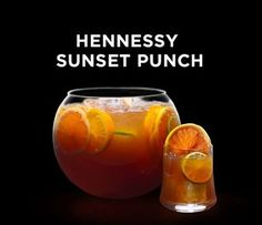 "Celebrate it almost being the weekend with the perfect party starter drink ""Hennessy Sunset Punch"" INGREDIENTS liters of… Party Drinks, Cocktail Drinks, Fun Drinks, Birthday Drinks, Mixed Drinks, Hennessy Cocktails, Hennessy Vs, How To Drink Hennessy, Necklaces"