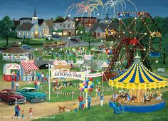 Famous PainterPuzzle Collector's Art series features art by well-known puzzle artists with the most popular themes. Country Fair by Persis Clayton Weirs is 1000 uniquely-shaped pieces and measures 20 x 27 when complete. Fair Pictures, Summer Pictures, Summer Fair, Country Fair, Cottage In The Woods, Z Arts, Art Series, Naive Art, Brain Teasers