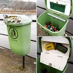 Recyklace odpadu (Recycling Waste) in Czech Republic - GC36681.  A geocache with over 225 favourite points.  Hopefully city workers know not to try and empty this creative cache container!