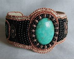 Turquoise and Copper Bead Embroidered Cuff by SimplyBeadedTreasure, $125.00