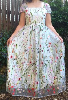 Custom 'Floral Embroidered' size 8 new wedding dress front view on bride Kids Blouse Designs, Dress Neck Designs, Frock Models, Frock Dress, Dot Dress, Kalamkari Dresses, Frocks And Gowns, Frock Fashion, Skirts For Kids