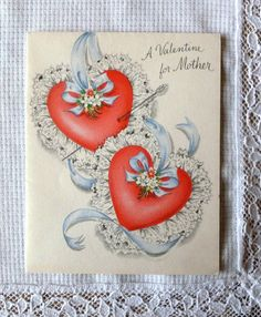 Vintage Hallmark Valentine Card for Mother - 1950s -  Mint Condition