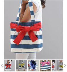 SALE! Patriotic Navy and White Striped Nautical Bag Just $9.99 (WAS $50) - so perfect for the 4th of July!