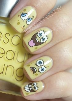 Today I bring you two Spongebob nail designs, the first is more difficult and requires more practice and the second is easier. Love Nails, How To Do Nails, Pretty Nails, Fun Nails, Nail Water Decals, Nail Decals, Nails For Kids, Disney Nails, Fabulous Nails