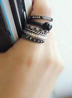 Bohemian Style Black 6 Piece Set Chic Women's Rhinestone bracelets