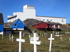 An old cemetery is next to the Hans Egede Church in downtown Nuuk, Greenland. Old Cemeteries, Cemetery, Tours, Cabin, Nuuk Greenland, Vacation, House Styles, Travel, Blog