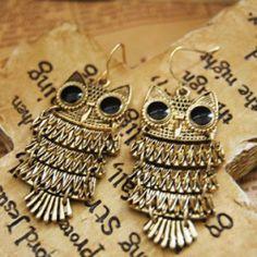 Retro Owl Drop Earrings