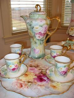 Chocolate Set. This is so pretty.  I love the platter underneath too.  Its a repin so I have no idea who made it :(