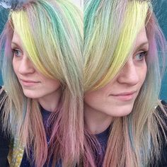 More #opalhair. Just gonna go with it. #pastelhair #rainbowhair #manicpanic #redkenshades #pravana