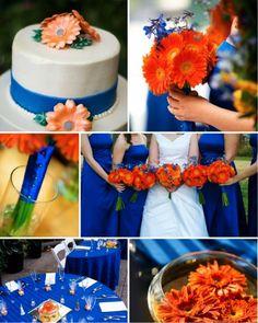 Decoração de casamento: azul e laranja