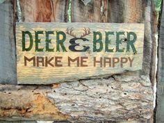 Deer and Beer Make Me Happy Sign Beer Sign Deer by BearlyInMontana