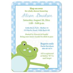 Leap Frog Baby Shower Invitation - Blue
