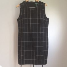 """Ralph Lauren plaid sheath dress Fully lined. Classic dress with white plaid detail. 64% polyester / 21% viscous 5% elastane .100% polyester shell liner. dry clean. 36"""" long/ 21"""" armpit to armpit Ralph Lauren Dresses"""