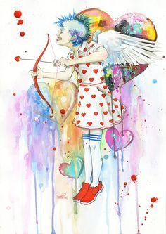 Watercolor Art by Lora-Zombie ....... Mon Cupidon sous Exta?! je comprends mieux mes plans foireux