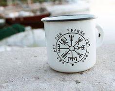 White Enamel Mug Cup Viking Compass Print Design * Soviet Enamelware * Vintage Enamel Cup Mug * Made in USSR * Army Military Camping Cup Mug *