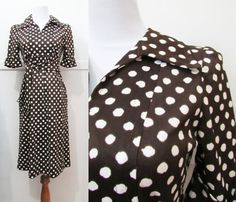 Polka Dot  Dress Brown Vintage 60s Small by GoodNPlentyVinty, $29.99