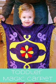 The Happy Plum: Family Aladdin Costume Part 2 - Toddler Magic Carpet Costume - Mayla Disney Family Costumes, Family Halloween Costumes, Halloween Kids, Mickey Halloween, Couple Halloween, Aladdin Birthday Party, Aladdin Party, Aladdin Musical, Disney Cosplay