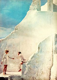 Jean Shrimpton and Jeanloup Sieff at the Church of Paraportiani, as pictured in Vogue magazine, Mykonos, Greece, 1967, photograph by Richard Avedon.