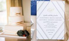 12 Amazing Wedding Cake & Invitation Combos Blue Wedding Invitations, Floral Invitation, Wedding Menu, Wedding Invitation Design, Wedding Stationery, Wedding Cakes, Wedding Planning, Watercolor Wedding Cake, Art Deco Cake