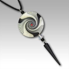 Cosmic Hana Pendant is reversable, reverse side has no red embellishment. Available in three sizes.