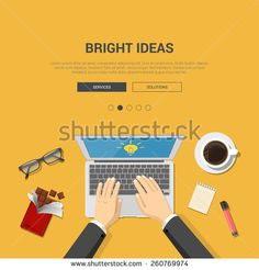 Mockup modern flat design vector illustration concept for bright ideas top view workplace hands on laptop chocolate coffee glasses. Web banner promotional materials template collection. - stock vector