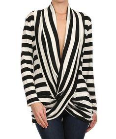 Love this Black & White Stripe Surplice Top on #zulily! #zulilyfinds http://www.zulily.com/invite/kripley070