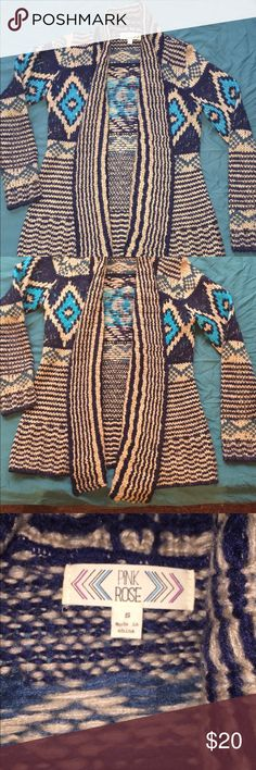 Cardigan Sweater Multi colored tribal cardigan sweater in size small, very warm and comfortable. Sweaters Cardigans