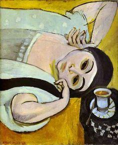 """""""Cabeça de Laurette com um copo de café"""" por Henri Matisse (1869-1954, France)"""