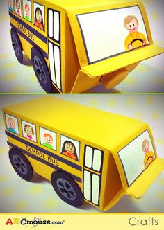 """Use an empty juice/milk carton, as well as other art supplies you may have at home to make this school bus with your child! You can also sing along to """"Wheels on the Bus"""""""