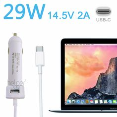 "World Debut mini 14.5V 2A 29W Car Charger Car Adapter USB-C for MacBook Retina 12""  with 5V 2A USB"