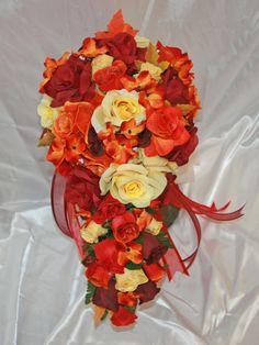 Fall Burgundy Orange Yellow Wedding Bridal Bouquet Cascade Silk Rose Package  #BridalSilkFlowers