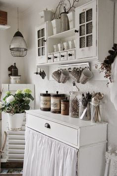 Shabby White Kitchen ~beautiful cabinet on the wall
