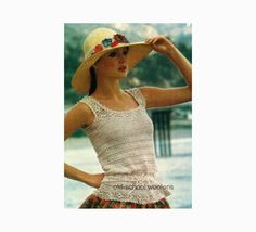 Lace Tank Top Blouse Vintage Crochet Pattern by oldschoolwoolens