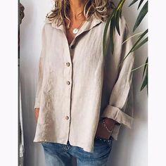 Plus Size Solid Color Cotton&Linen Bat Sleeve Shirt – chellymova Half Sleeve Shirts, Short Sleeve Blouse, Shirt Sleeves, Bat Sleeve, Long Sleeve, Plus Size Casual, Batwing Sleeve, Cotton Linen, Types Of Sleeves