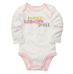 Carter's® Baby Girls' Ivory Long Sleeve Make Grandpa Smile Bodysuit at www.bonton.com