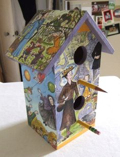 Mary Poppins birdhouse made (by me)  from Mary Poppins from A to Z written by P. L. Travers and illustrated by Mary Shepard