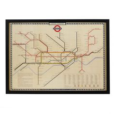 Vintage London Underground Map Frame