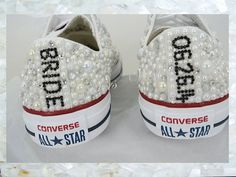 Luxury pearl sparklers / All over converse / Bridal by CindersWish