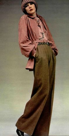 1972 - Yves Saint Laurent early 70s vintage fashion style casual ease elegance day wear pants blouse light jacket hat trousers pleated pink silk wool