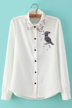 AdoreWe - oasap Fashion Bird Print White Button Down Shirt - AdoreWe.com