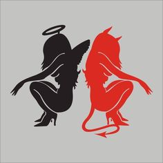 """Black Hair Devil in Red Leather Pin Up Decal Pair Sticker 6/"""" EACH Free Shipping"""