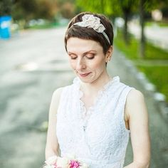 A bridal headband with handmade floral applique. I have created these soft blush pink flowers from a vintage lace, found in a tiny antique shop in Bridesmaid Headpiece, Bridesmaid Hair Accessories, Lace Headbands, Bridal Headpieces, Vintage Lace, Pink Flowers, Blush Pink, Rustic Wedding, Applique