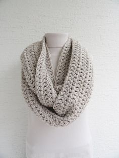 Extra Large Chunky Infinity Scarf Thick Knit Scarf Unisex Womens Cowl Scarf Mens Accesories Light Beige by LedaDesign on Etsy https://www.etsy.com/listing/160694803/extra-large-chunky-infinity-scarf-thick