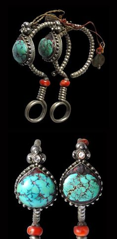 Tibet | Pair of woman's earrings ~ Along ~ silver, coral and turquoise | Late 19th to early 20th century | POR