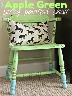 Green apple spray painted chair #spraypaint