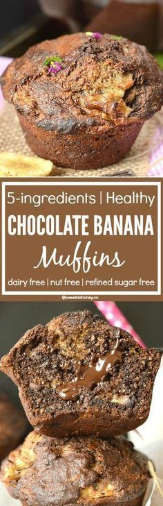Healthy Chocolate Banana Muffins with Coconut Oil | No fail | 5 ingredients | Dairy free | Whole wheat muffins | Clean Muffins recipe | Refined Sugar free