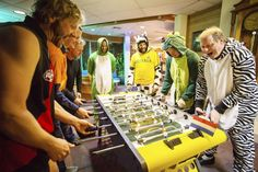 Workers at Australia's Mawson station in East Antarctica play a game of foosball table soccer