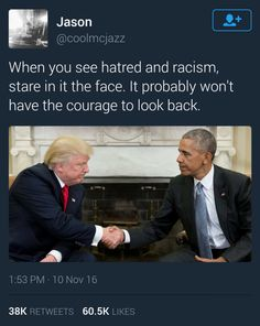 Trump can't even open his eyes & look at our President....